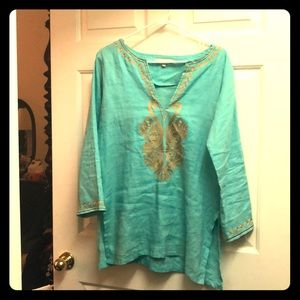 Aqua blue and gold tunic for sale
